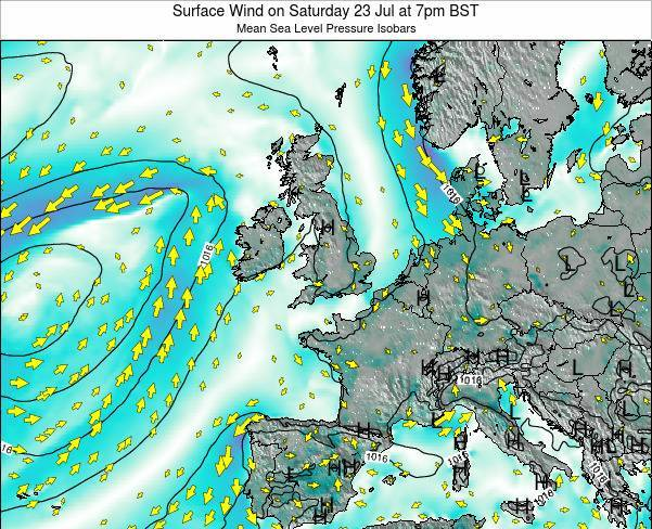 Ireland Surface Wind on Thursday 24 Apr at 7am BST