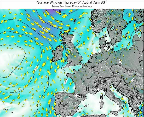Ireland Surface Wind on Thursday 07 Jul at 1am BST