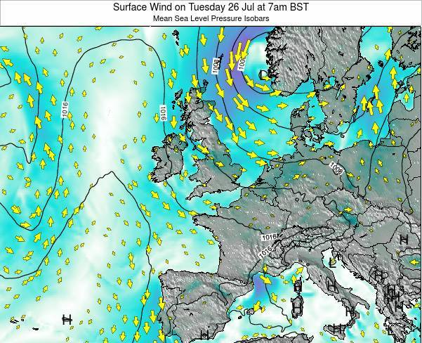 Ireland Surface Wind on Thursday 30 Oct at 1am BST