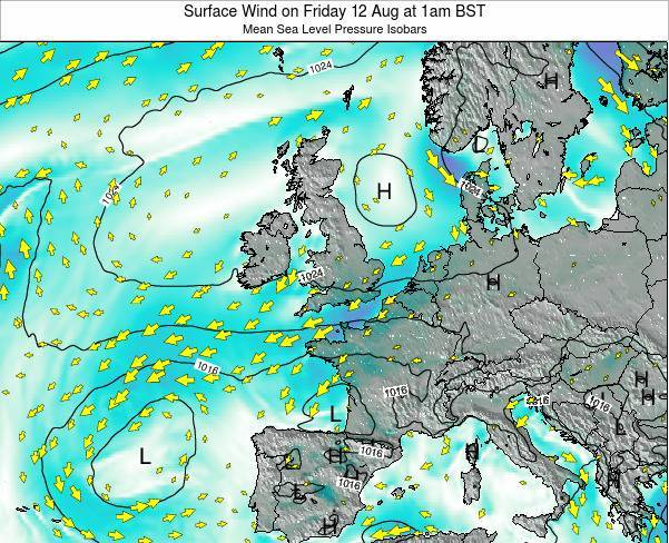 United Kingdom Surface Wind on Wednesday 29 May at 1pm BST