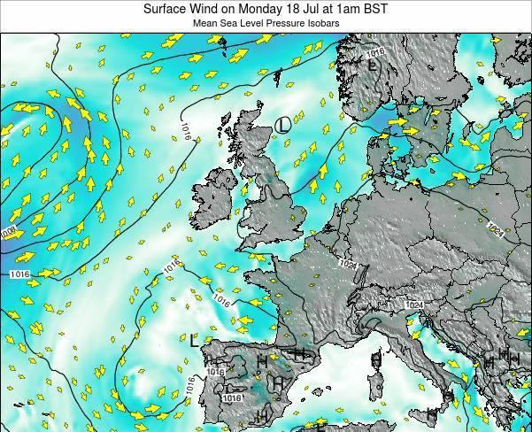 United Kingdom Surface Wind on Sunday 26 May at 1pm BST map