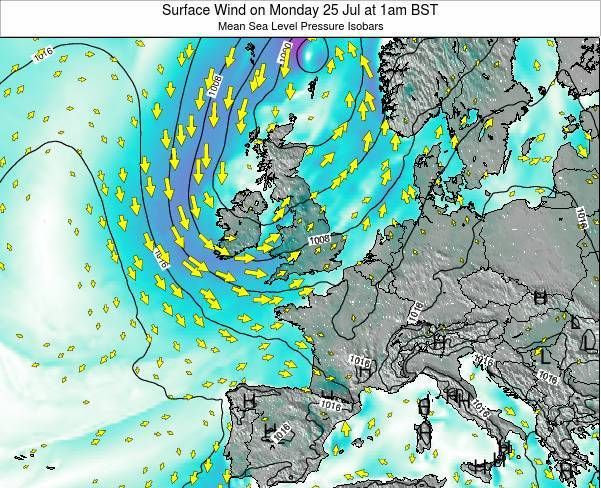 United Kingdom Surface Wind on Monday 27 May at 7pm BST map