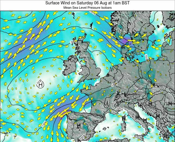 Faroe Islands Surface Wind on Monday 03 Nov at 6am GMT