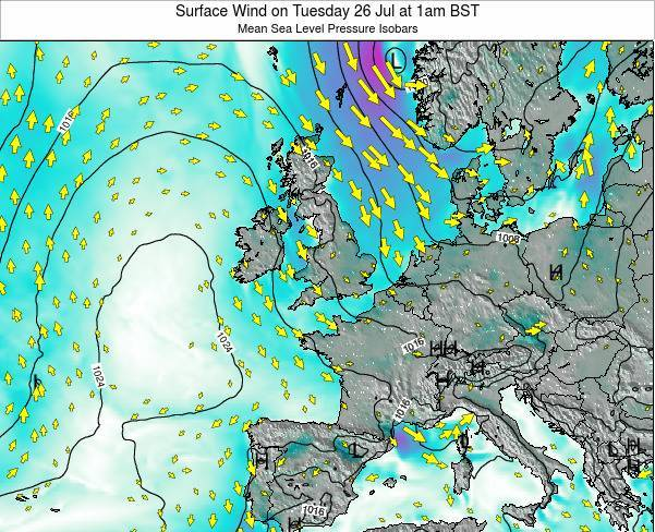 Faroe Islands Surface Wind on Saturday 01 Aug at 1am BST