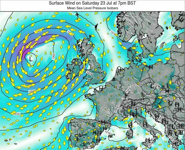 Faroe Islands Surface Wind on Thursday 23 Oct at 7pm BST