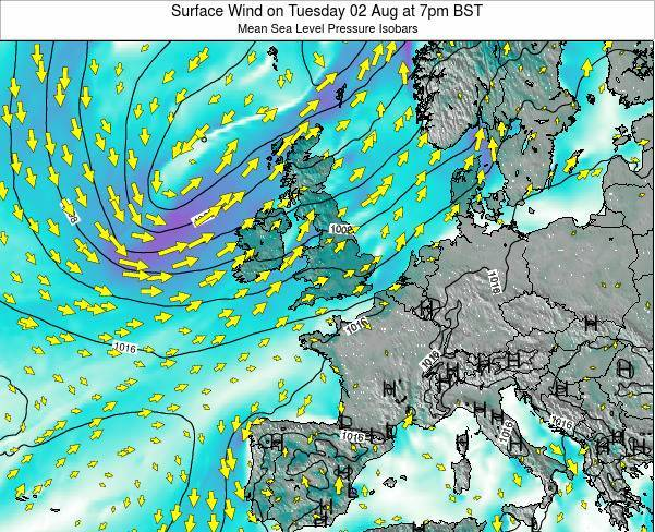 United Kingdom Surface Wind on Friday 13 Dec at 6pm GMT