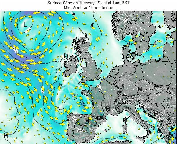 United Kingdom Surface Wind on Sunday 19 Nov at 12pm GMT map