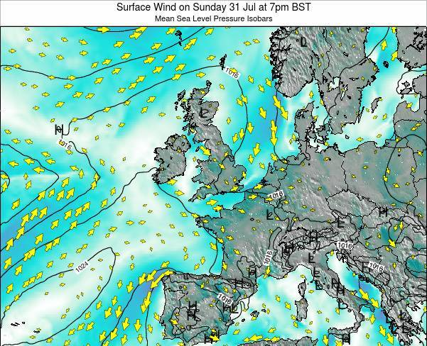 United Kingdom Surface Wind on Saturday 19 Apr at 7am BST