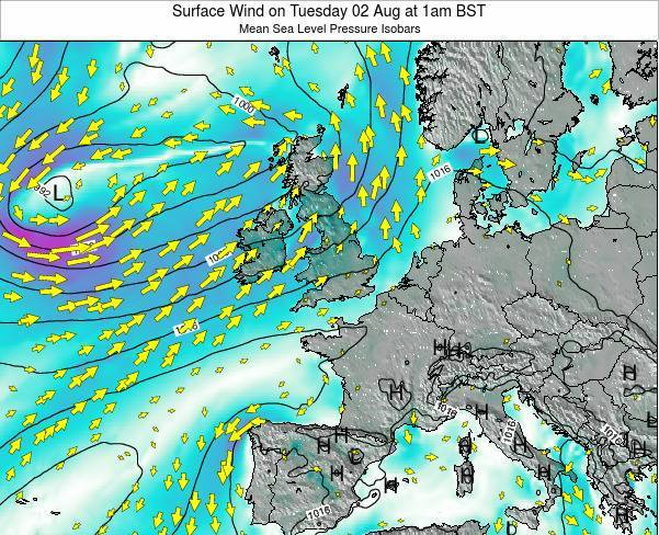 United Kingdom Surface Wind on Saturday 02 Aug at 1am BST