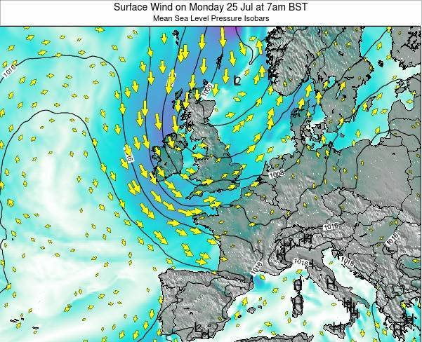 United Kingdom Surface Wind on Wednesday 23 Jul at 1am BST