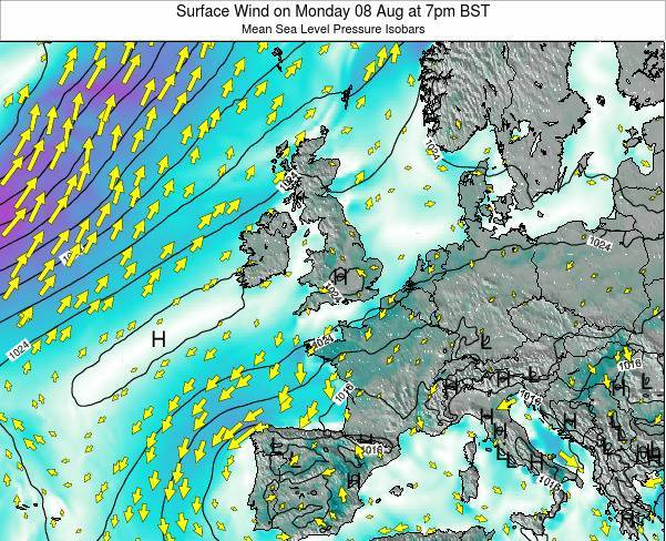 United Kingdom Surface Wind on Saturday 22 Jun at 1pm BST map