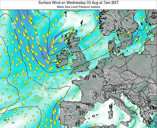 United Kingdom Surface Wind on Tuesday 28 May at 7am BST