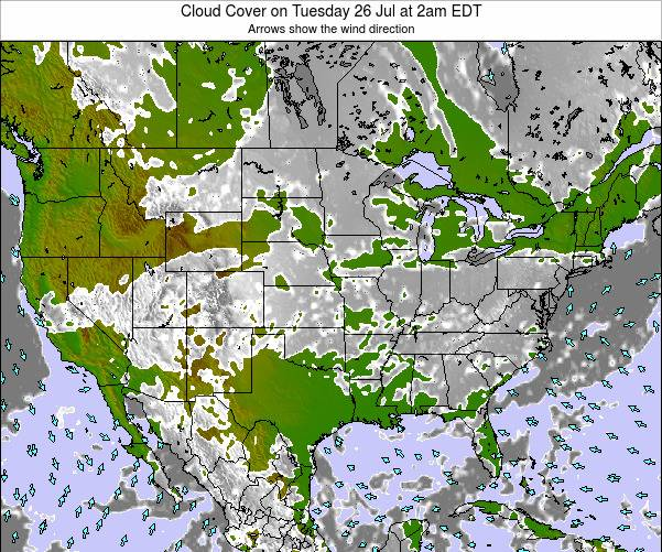United States Cloud Cover on Monday 27 Feb at 1am EST