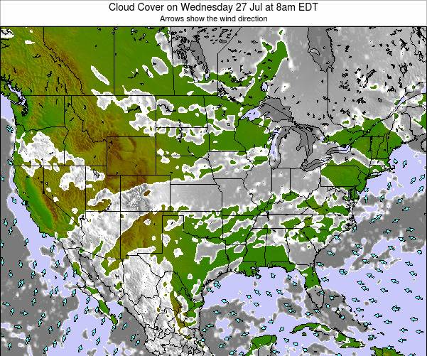 United States Cloud Cover on Saturday 14 Dec at 7pm EST