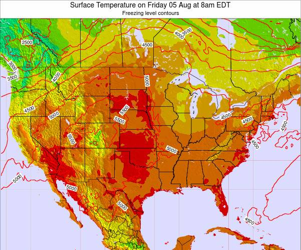 United States Surface Temperature on Wednesday 22 May at 2pm EDT map