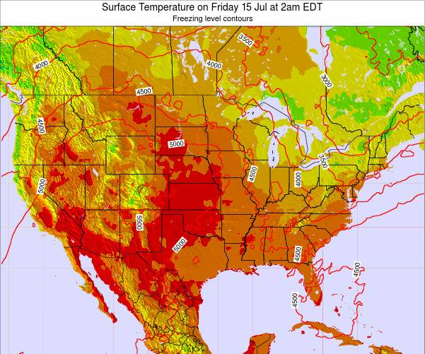 United States Surface Temperature on Saturday 18 May at 2pm EDT map