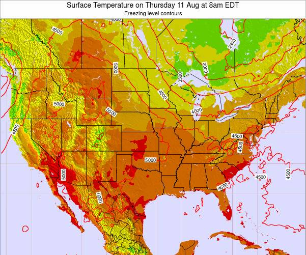 United States Surface Temperature on Tuesday 28 May at 2pm EDT map