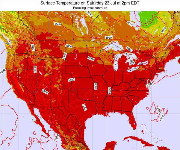 United States Surface Temperature On Thursday 05 Oct At 8pm Edt
