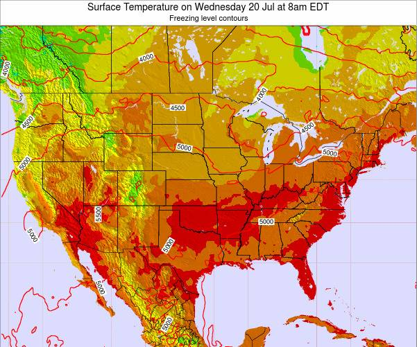 United States Surface Temperature on Thursday 05 Sep at 2pm EDT