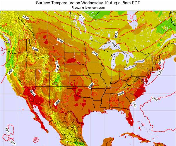 United States Surface Temperature on Saturday 25 May at 2pm EDT map
