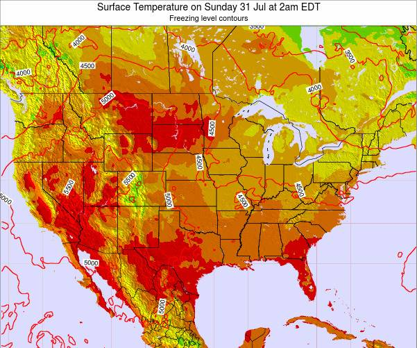 United States Surface Temperature on Friday 24 May at 2pm EDT map