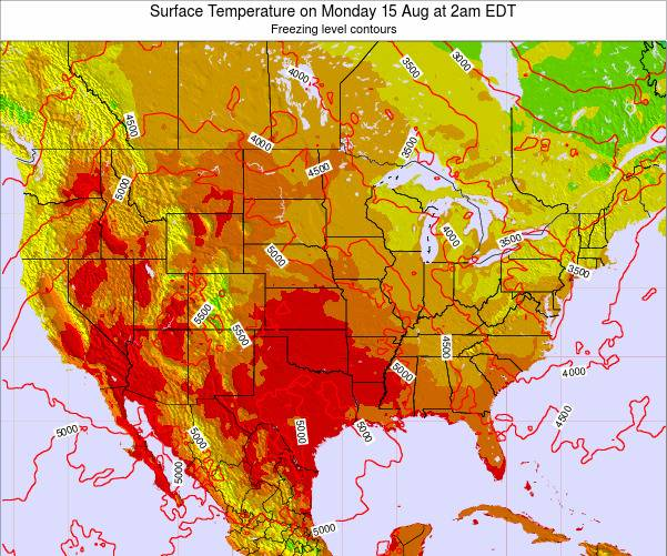 United States Surface Temperature on Monday 24 Jun at 2pm EDT map