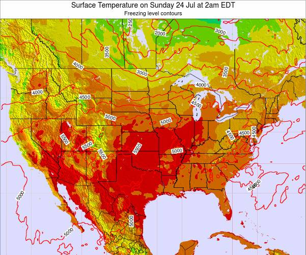 United States Surface Temperature on Tuesday 22 May at 8pm EDT