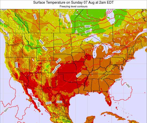United States Surface Temperature on Tuesday 21 May at 2pm EDT map