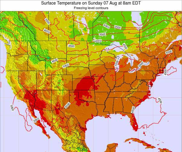 United States Surface Temperature on Sunday 29 Mar at 8am EDT