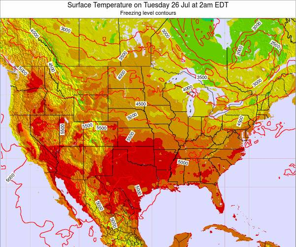United States Surface Temperature on Thursday 23 May at 2pm EDT map