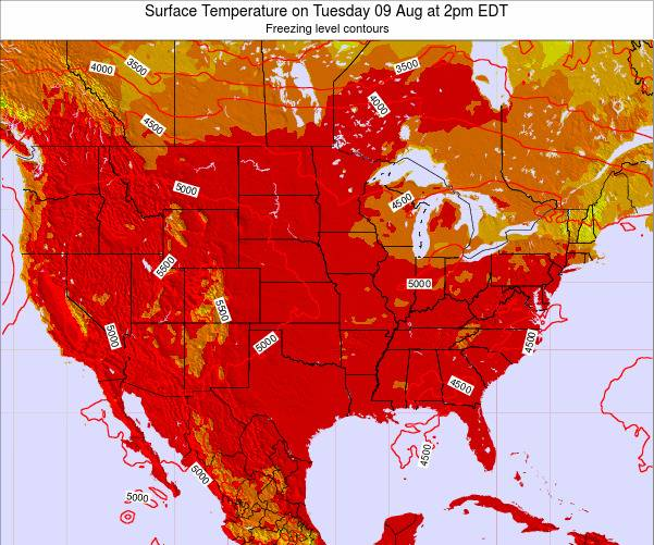 United States Surface Temperature on Friday 24 May at 2am EDT map