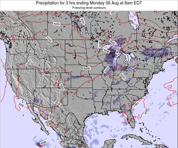 United States Precipitation for 3 hrs ending Tuesday 21 May at 8pm EDT map
