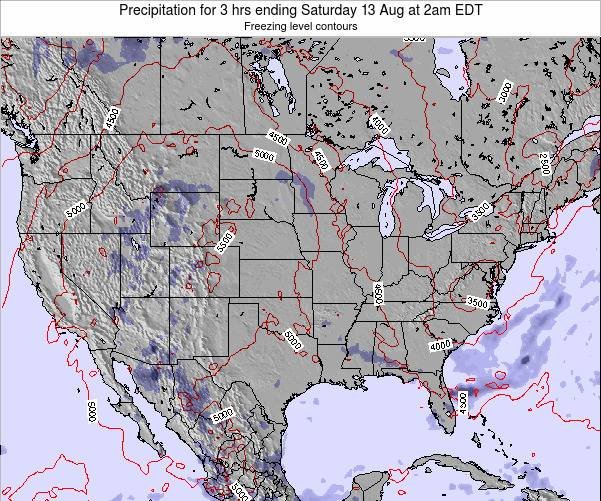 United States Precipitation for 3 hrs ending Monday 24 Jun at 8am EDT map
