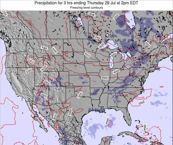 United States Precipitation for 3 hrs ending Wednesday 22 May at 2am EDT