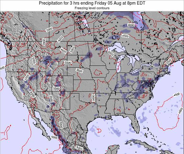 United States Precipitation for 3 hrs ending Friday 18 Apr at 8pm EDT map