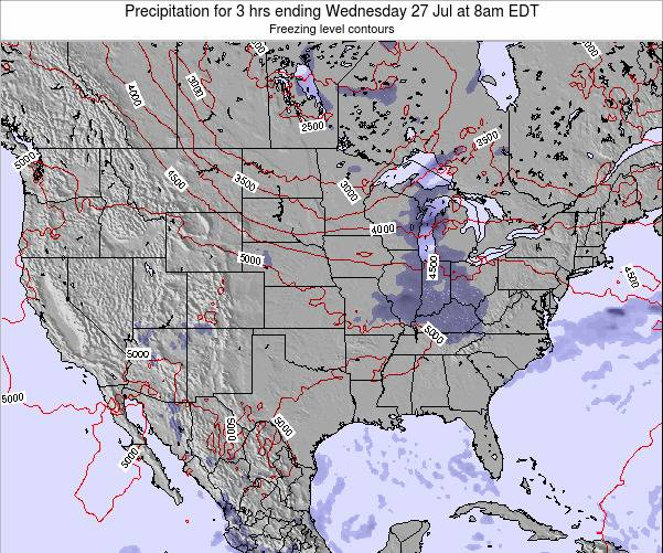 United States Precipitation for 3 hrs ending Tuesday 11 Mar at 8pm EDT map