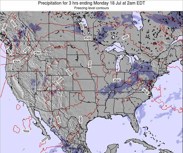 United States Precipitation for 3 hrs ending Saturday 02 Aug at 2am EDT map
