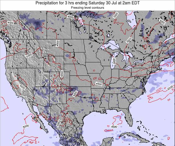 United States Precipitation for 3 hrs ending Saturday 26 Jul at 2am EDT map