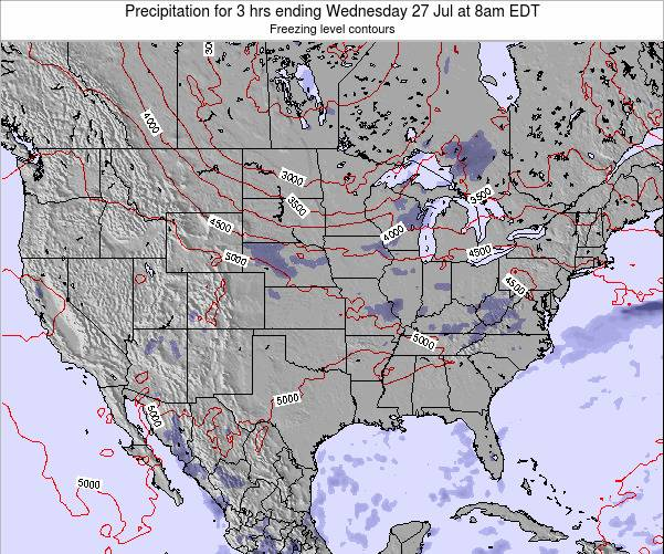 United States Precipitation for 3 hrs ending Sunday 23 Jun at 8am EDT map