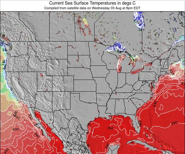 United States Sea Temperature Map