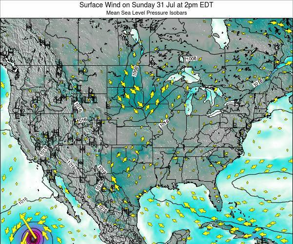 United States Surface Wind on Sunday 26 May at 8am EDT map