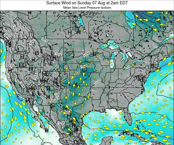 United States Surface Wind on Friday 22 Dec at 7pm EST map