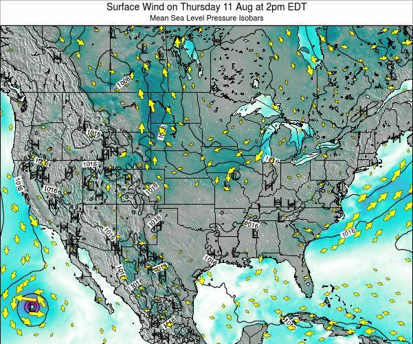 United States Surface Wind on Sunday 26 May at 2pm EDT map