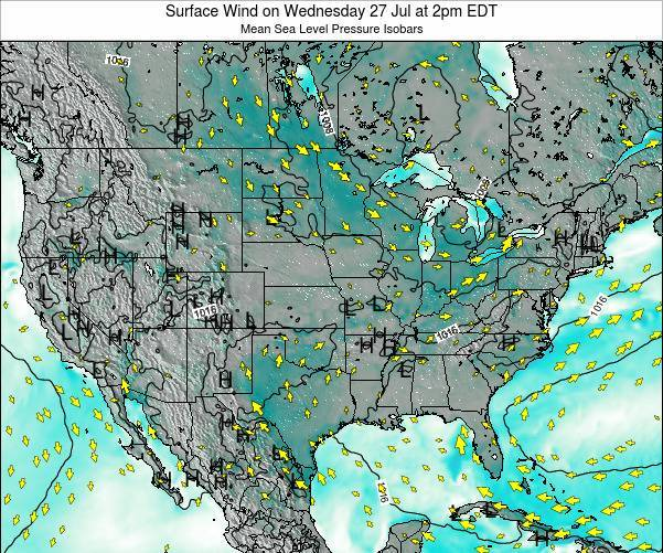 United States Surface Wind on Sunday 03 Aug at 2am EDT