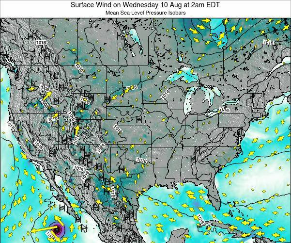 United States Surface Wind on Friday 14 Mar at 2pm EDT