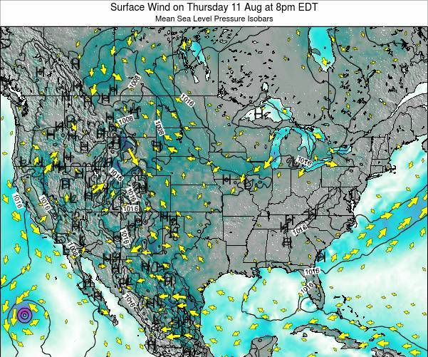 United States Surface Wind on Wednesday 23 Apr at 8pm EDT