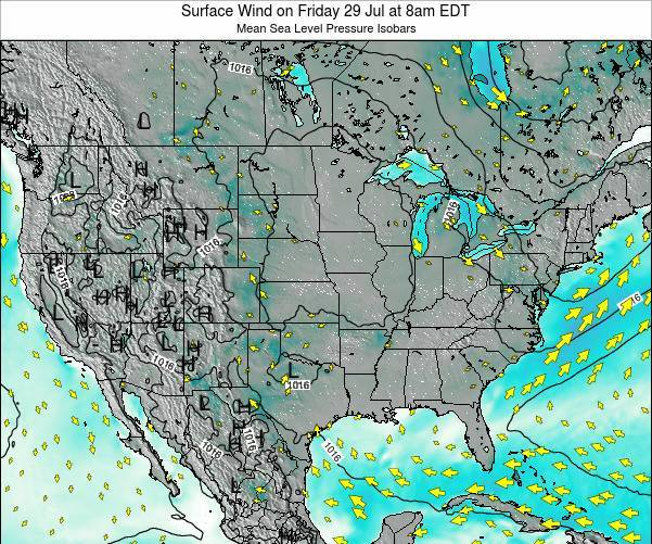 United States Surface Wind on Saturday 25 May at 2am EDT