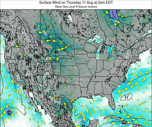 United States Surface Wind on Monday 22 Sep at 2pm EDT