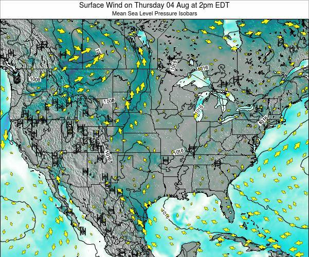 United States Surface Wind on Thursday 12 Dec at 1am EST