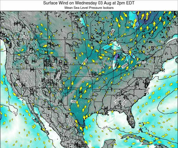 United States Surface Wind on Friday 18 Apr at 8am EDT